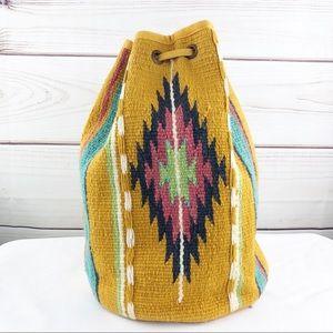 B152 VTG Tribal Aztec Bucket Bag Backpack Mustard
